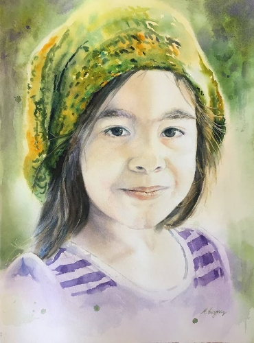 """""""Simply Valeria"""" - watercolor on paper (11x15 inches)"""