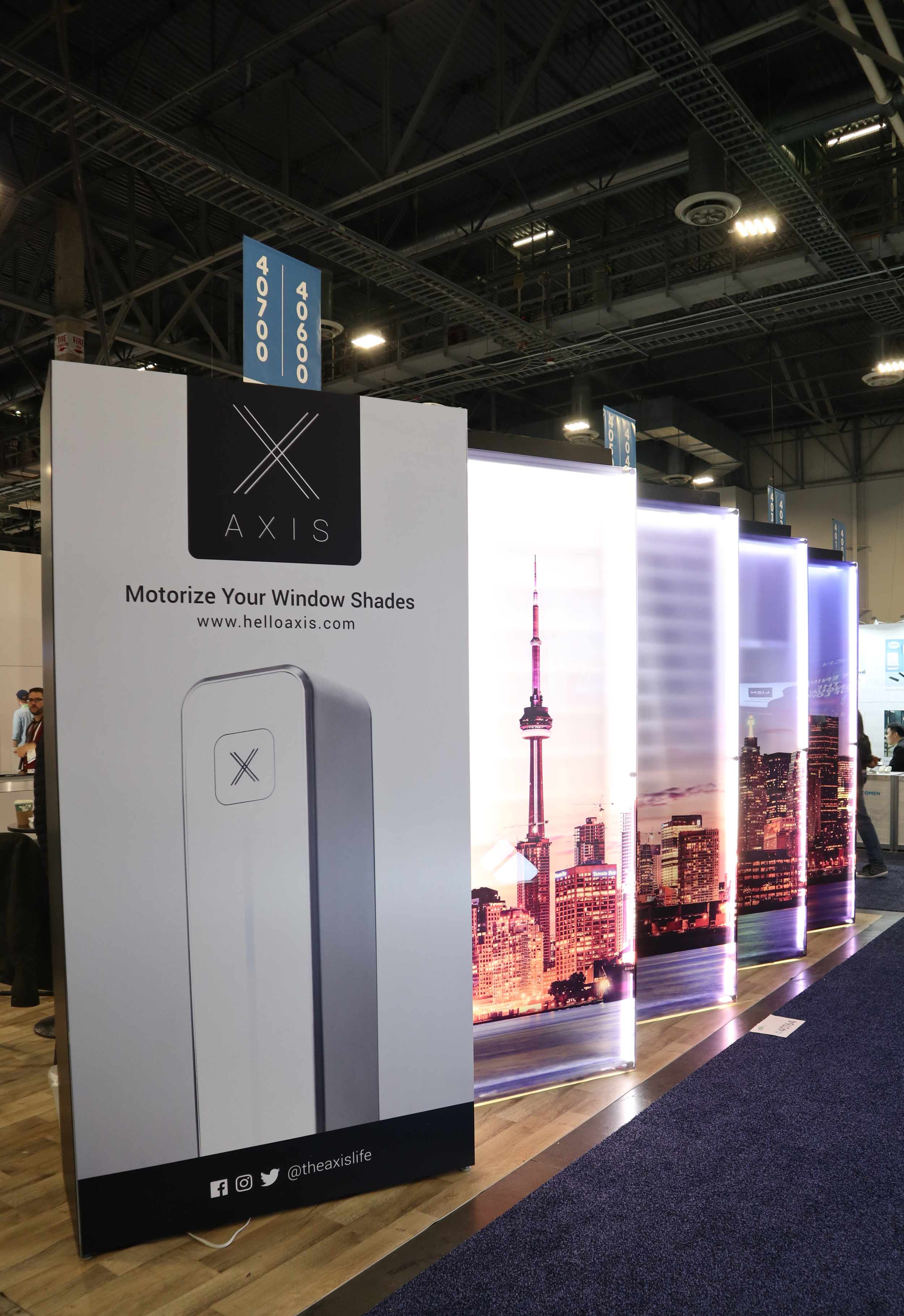 MMB customer  AXIS  at CES - retrofit existing blinds and voice enable them through Alexa, Google, and Samsung SmartThings.