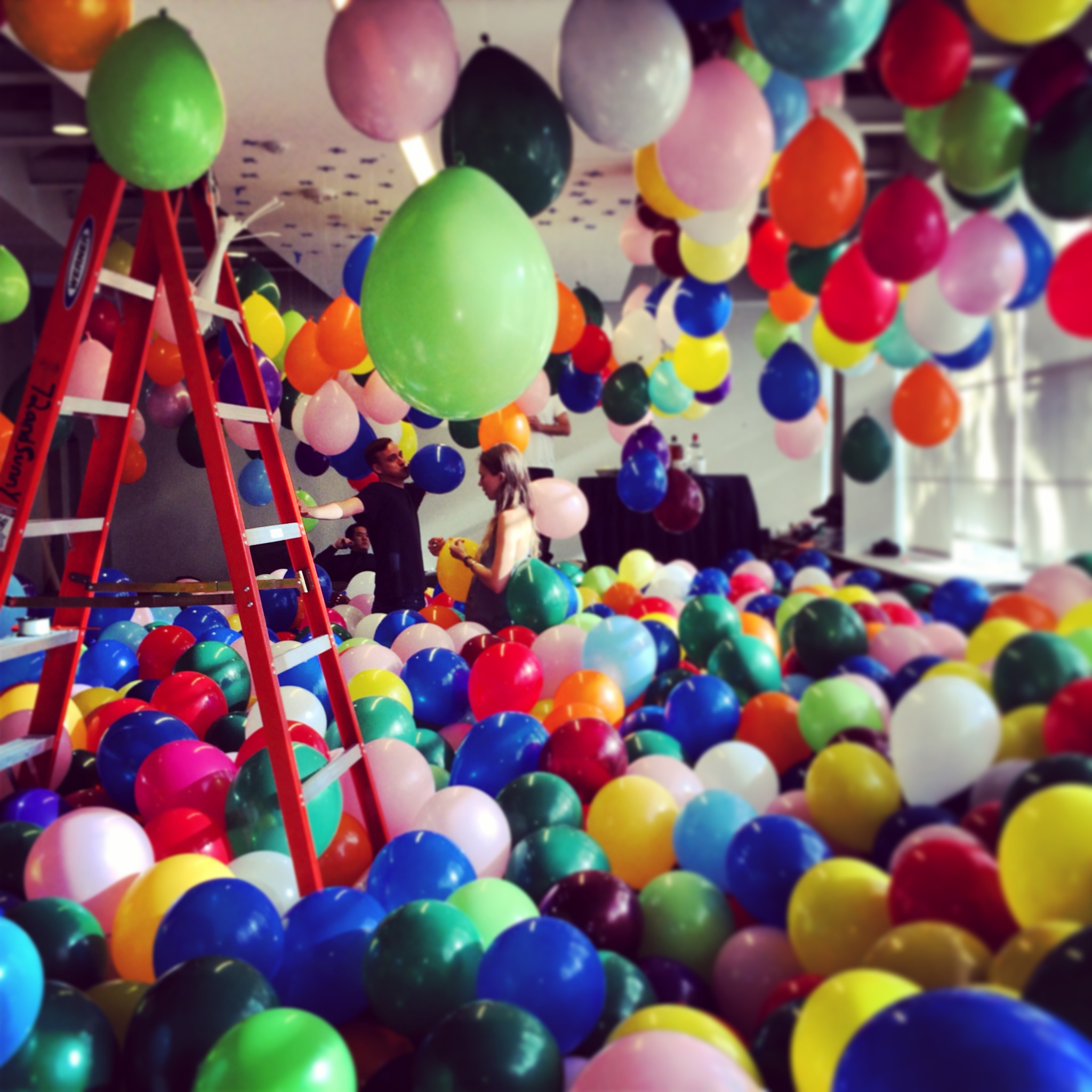 Filling a room with balloons, day 2.