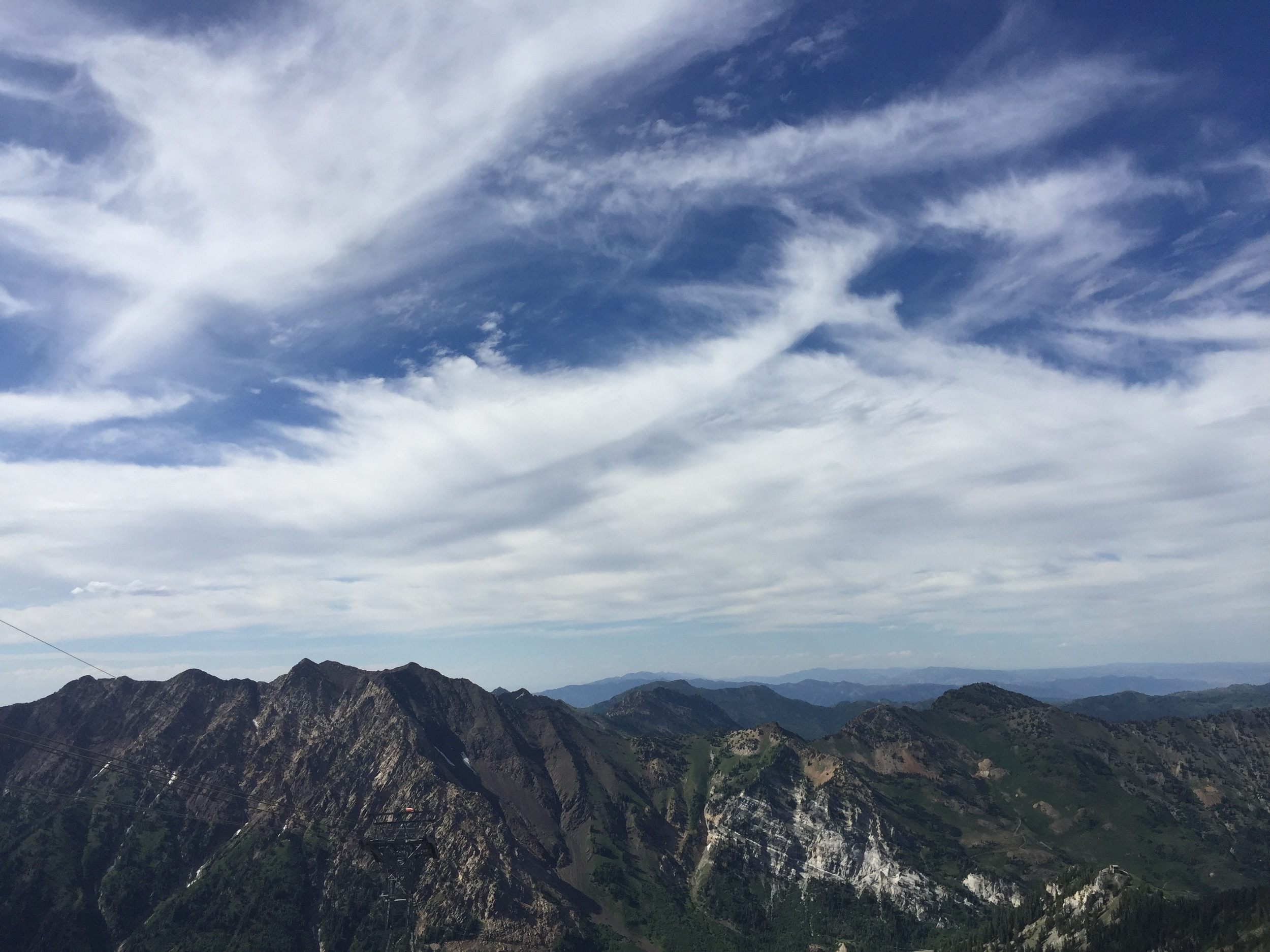 The view from the top of the tram at Snowbird.