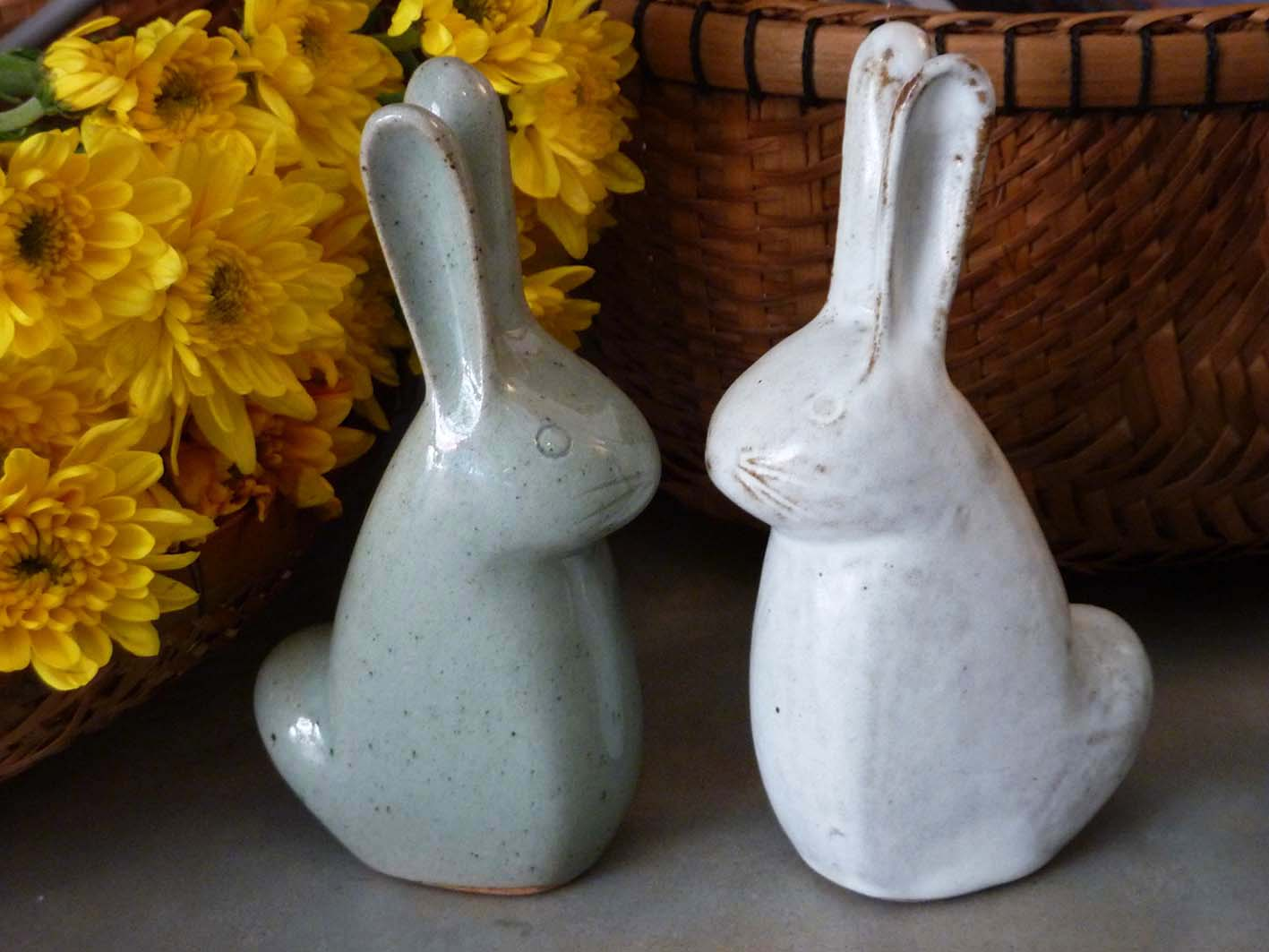 Ceramic bunnies. H16cm x W9cm. Available in Snow White and Celadon Grey. $12.00 each.