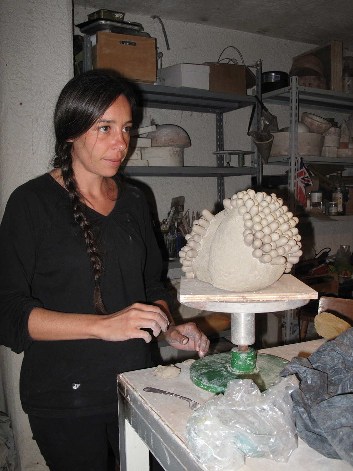 Angelica at work in the studio