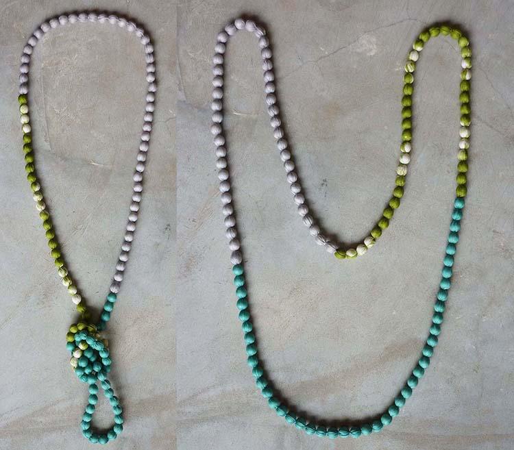 Tricolor long silk necklace