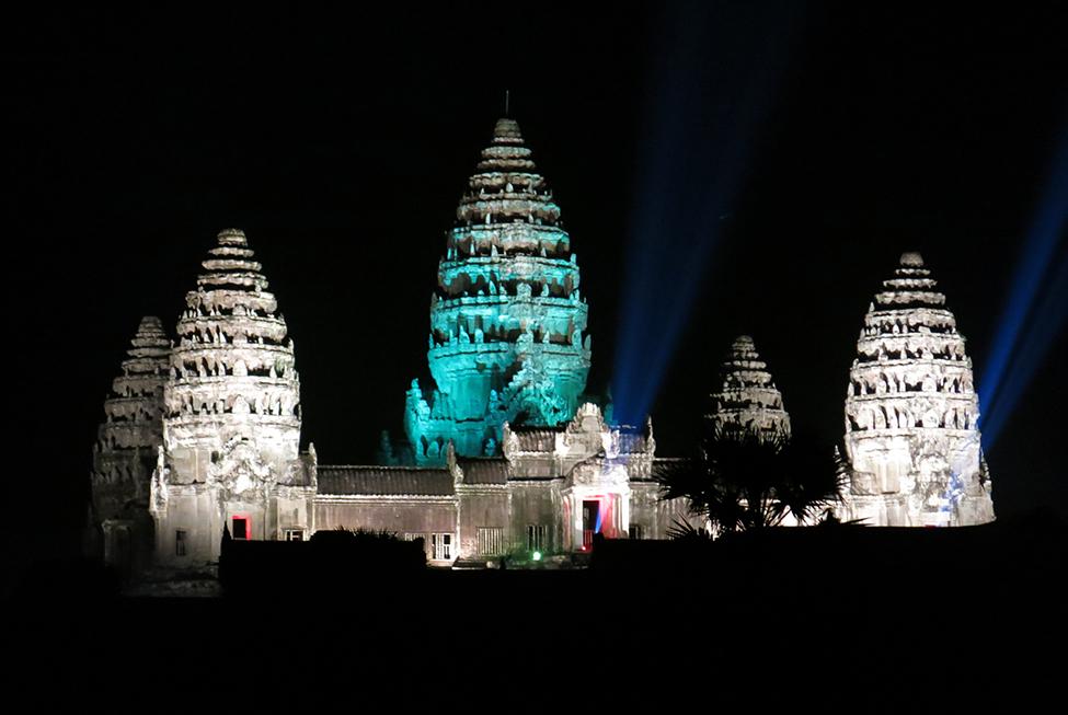 Angkor Wat at night.