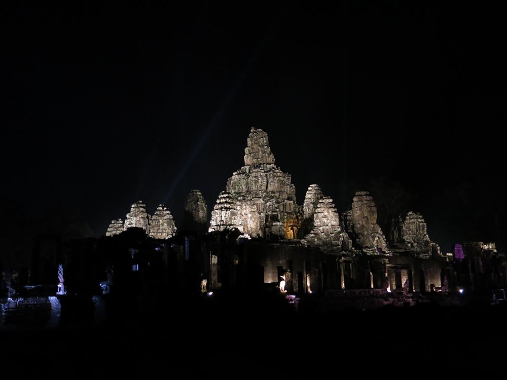 Bayon Temple at night.