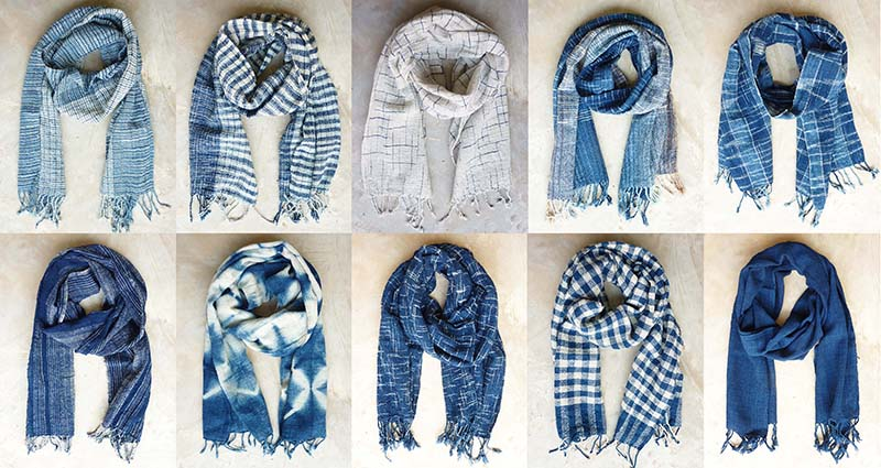 Indigo cotton scarves