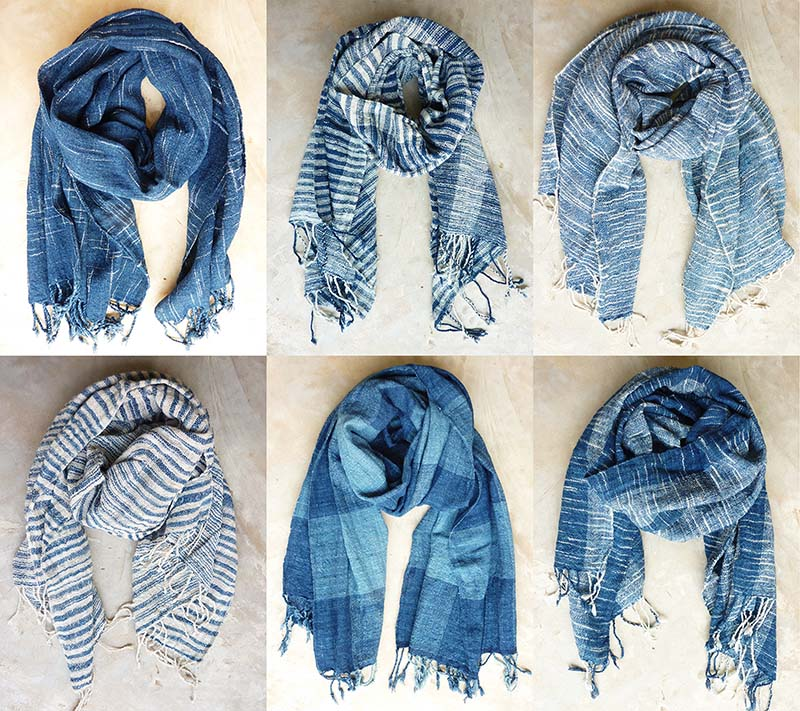 Indigo cotton shawls
