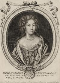 Engraved portrait of Marie Angélique de Scoraille de Roussille, duchesse de Fontanges (1661-1681) via Wikimedia Commons