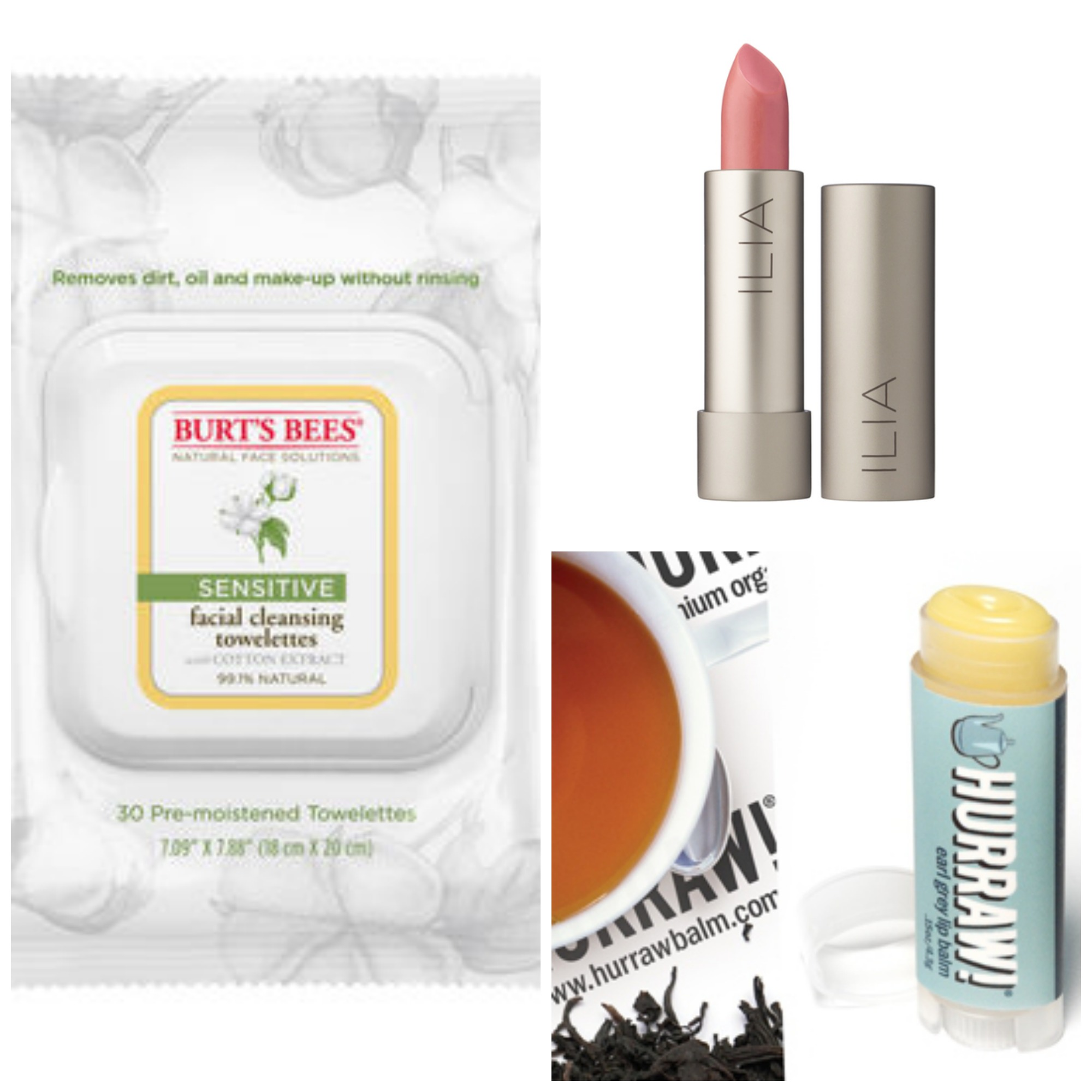 Burt's Bees Sensitive Facial Cleansing Towelettes ($6.00)  |  Ilia Lipstick ($26) shown in In My Room  |  Hurraw! Lip Balms ($3.79, price varies depending on kind) shown in Earl Grey