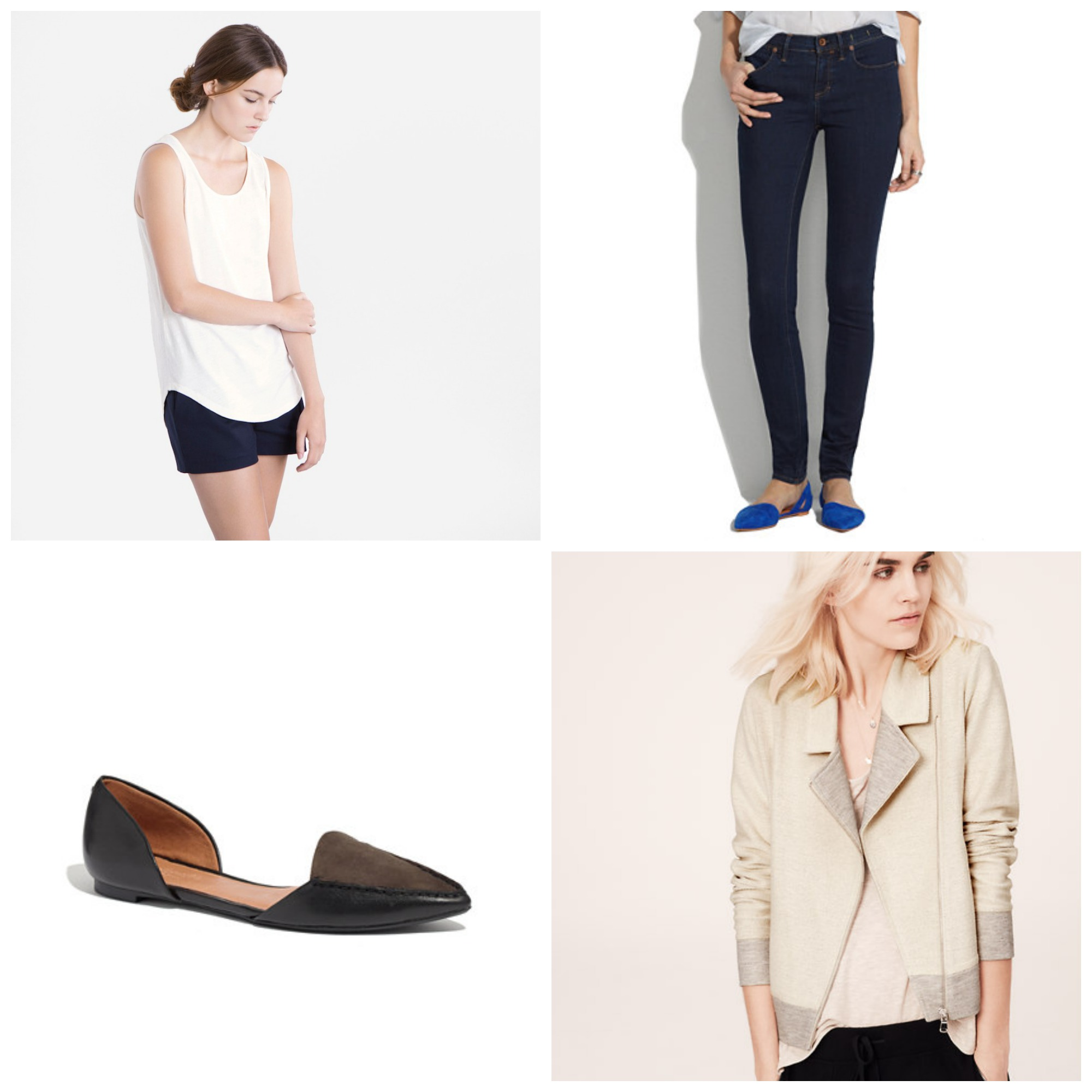 From left to right:  Everlane Drape Tank in Cream ($24)  |  Madewell Skinny Skinny Jeans in Madewell rinse ($115)  |  Madewell Maude Flat in Black Coal ($118)  |  Lou & Grey Oatmeal Moto Jacket ($84.41 CAD)