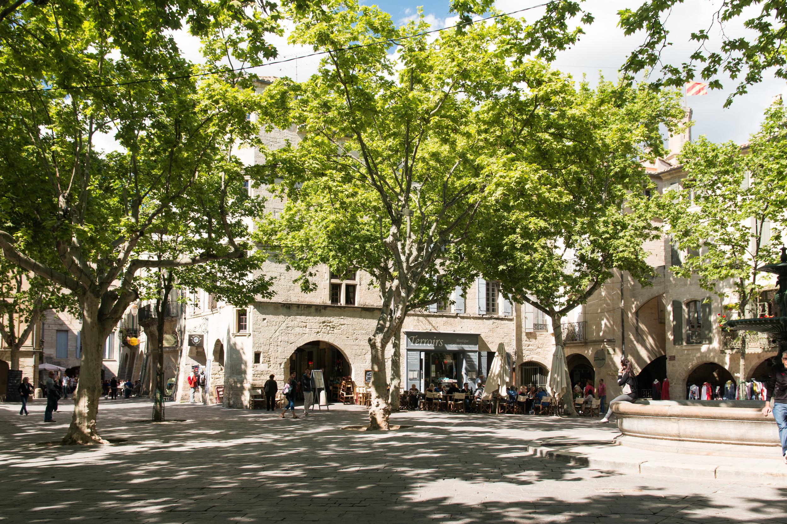 """Uzès-Place aux Herbes-20140501"" by Daniel Villafruela. Licensed under CC BY-SA 3.0 via Wikimedia Commons"
