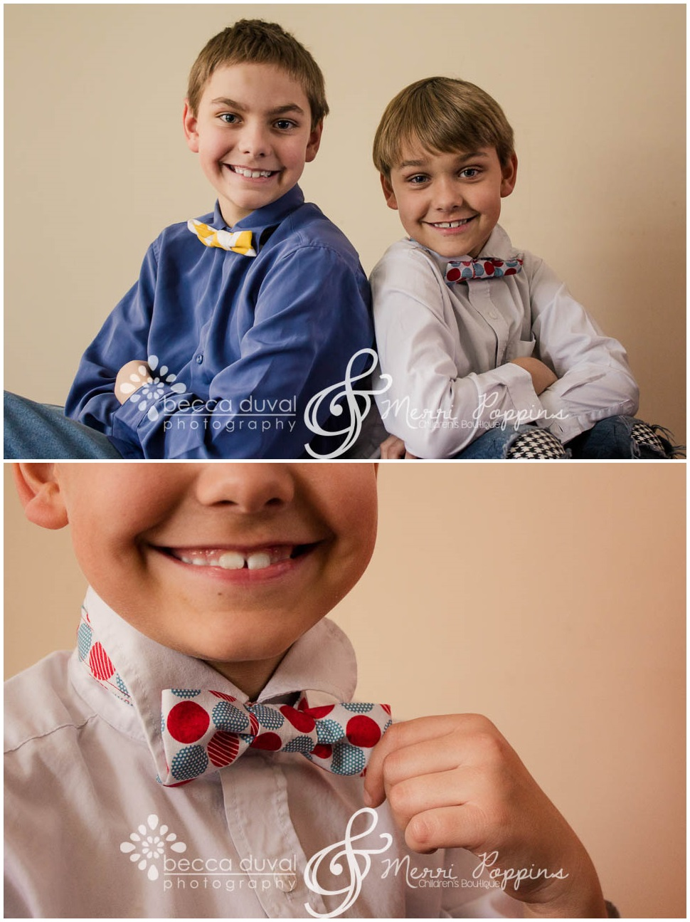 "Check out these cheeseballs! Much to the surprise of us adults, these guys LOVED their bowties. As in, didn't want to leave them for the giveaway, ""loved."" They're kid-friendly (aka VELCRO) and the perfect accessory to spice up attire for boys of all ages."