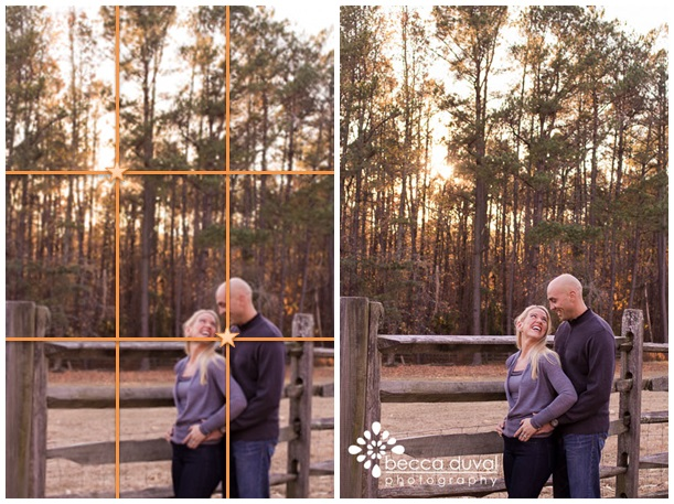 Based on the Rule of Thirds, I've drawn focus to the setting sun AND the happy couple!