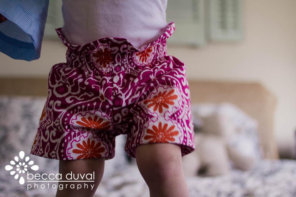 "I used the  Nina Bonita ""Paper Bag Shorts""  pattern."