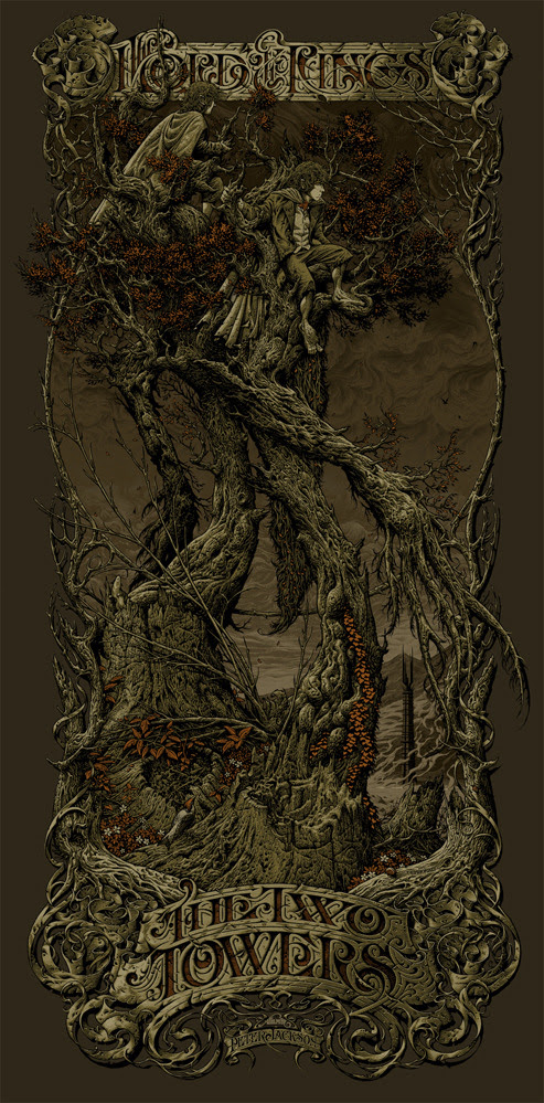 "Poster by Aaron Horkey. 19.25""x39"" 7-color screen print. Hand numbered. Edition of 245. Printed by Burlesque of North America."