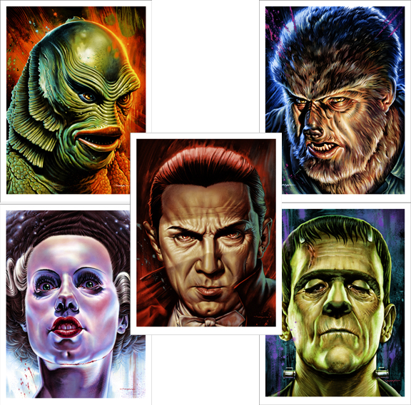 "I might be cheating but Im grouping these as one since I think they compliment each other. I didn't get to go to the gallery show for this series but I wish I could have. Amazing detail and who doesn't love the Universal Monsters and Bela Lugosi!     Artist: Jason Edmiston  Size: 18""x24"" each  Printed by:   Details:   Run size: 175 each"