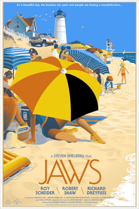 """Here is a poster I will always regret passing on and not making an attempt to get. I always wanted an awesome Jaws poster and for some reason when this came up I wasn't crazy about it. I thought it was good but figured I would pass and maybe make a good trade for it later. Man do I regret that decision. the more I look at this print the more I like it. This captures the travel poster in a perfect way. It has the feel of a  Roger Broders ' travel print but Durieux's style still comes through. Another poster I will have in the future! Durieux is having a gallery show at Mondo February 7th 2014. I can almost bet that the Forbidden Planet print will be on my 2014 list. Im also hoping that the Back to the Future one will be as well.    Artist: Laurent Durieux  Size: 36""""x24""""  Printed by:  Details:  Run size: 525"""