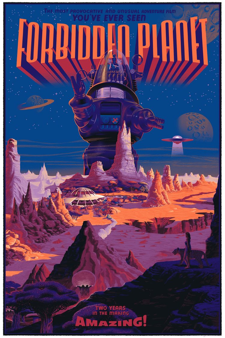 One of the first solo shows for Mondo of 2014 was Laurent Durieux. His solo show was announced at the Mondo Mystery Movie which I was lucky enough to be at. You could tell people weren't to excited about the poster Durieux did for MMMXI. After his solo show a few months later his work started commanding higher prices. His Forbidden Planet poster isn't his most commercially successful from his solo show but by far my favorite.