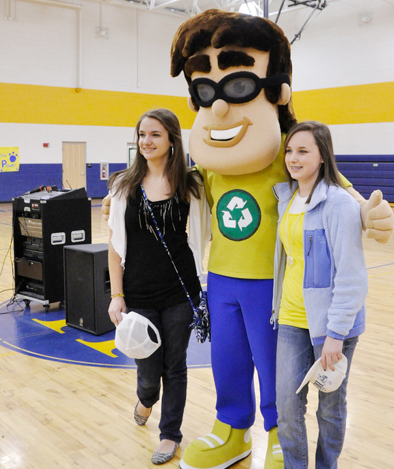 Recycling Ben, mascot for Target Recycling at School, visits students at New Hope Middle School during an assembly.