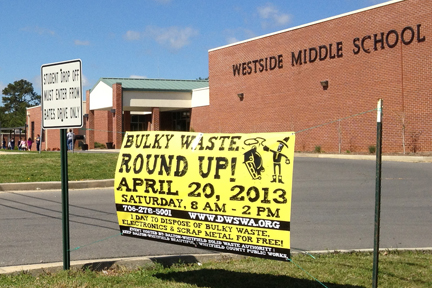 Banner at one of the participating schools announcing Bulky Waste Round Up 2013.