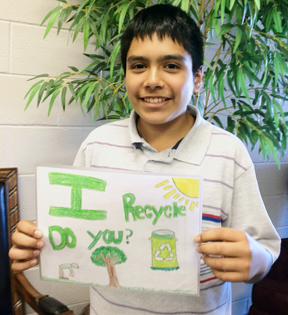 Dalton Middle School 7th grader, Joel Paez, is the overall winner of the 2011 America Recycles Day Billboard Design Contest hosted by the Dalton-Whitfield Solid Waste Authority's program Target Recycling.