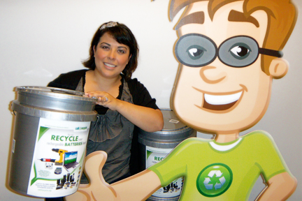 Liz and Recycling Ben invite you to look for the silver bucket at a local Convenience Center to drop off your rechargeable batteries for recycling.