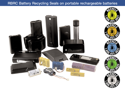 Rechargeable batteries come in all shapes and sizes.  Look for the RBRC Battery Recycling Seals to identify the recyclable ones.