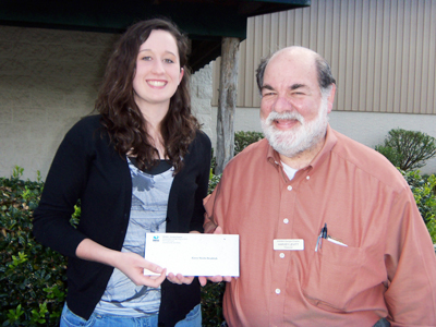 Kasey N. Hendrick receives her scholarship award from Mr. Harvey Levitt, Treasurer for GA-SWANA and Operations Manager at the Dalton-Whitfield Solid Waste Authority. (Not pictured is Nathaniel B. Hammontree.)