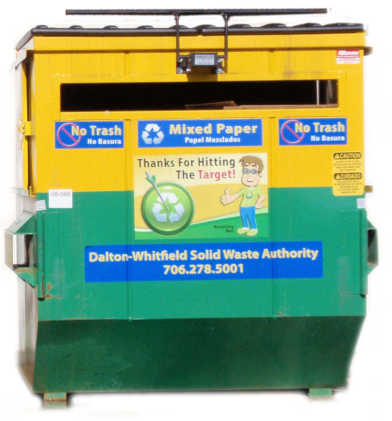 Pictured is a sample Target Recycling container with the signature yellow and green color. Containers at the Rocky Face location have been removed. Residents are encouraged to drop off recyclables at the Westside Convenience Center.