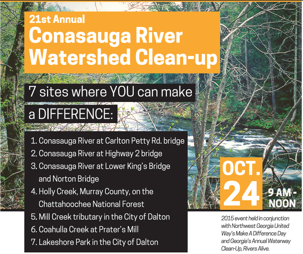The 2015 river cleanup has been scheduled for October 24. Click on the image to download the event flyer with directions.