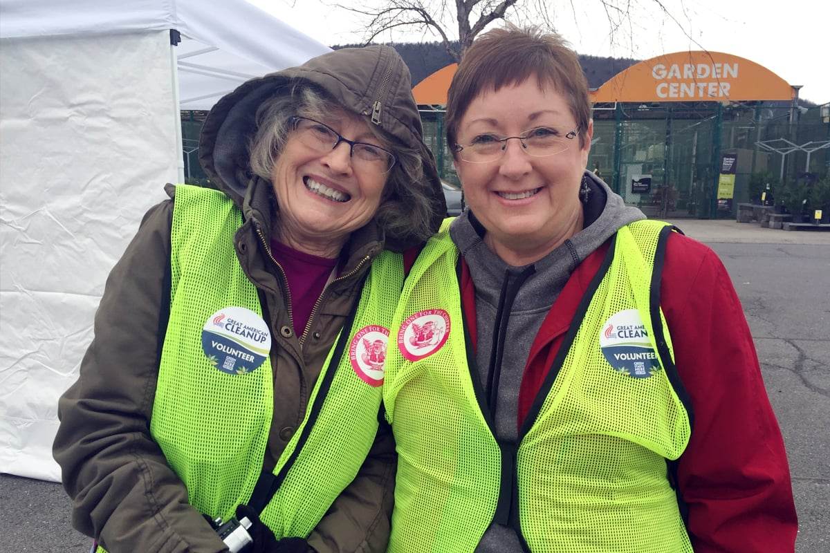 Keep Dalton-Whitfield Beautiful volunteers Kay Patterson and Kay Motto distributed seedlings and other giveaways to participants of the annual Christmas Tree and Electronics Recycling event at The Home Depot last Saturday.