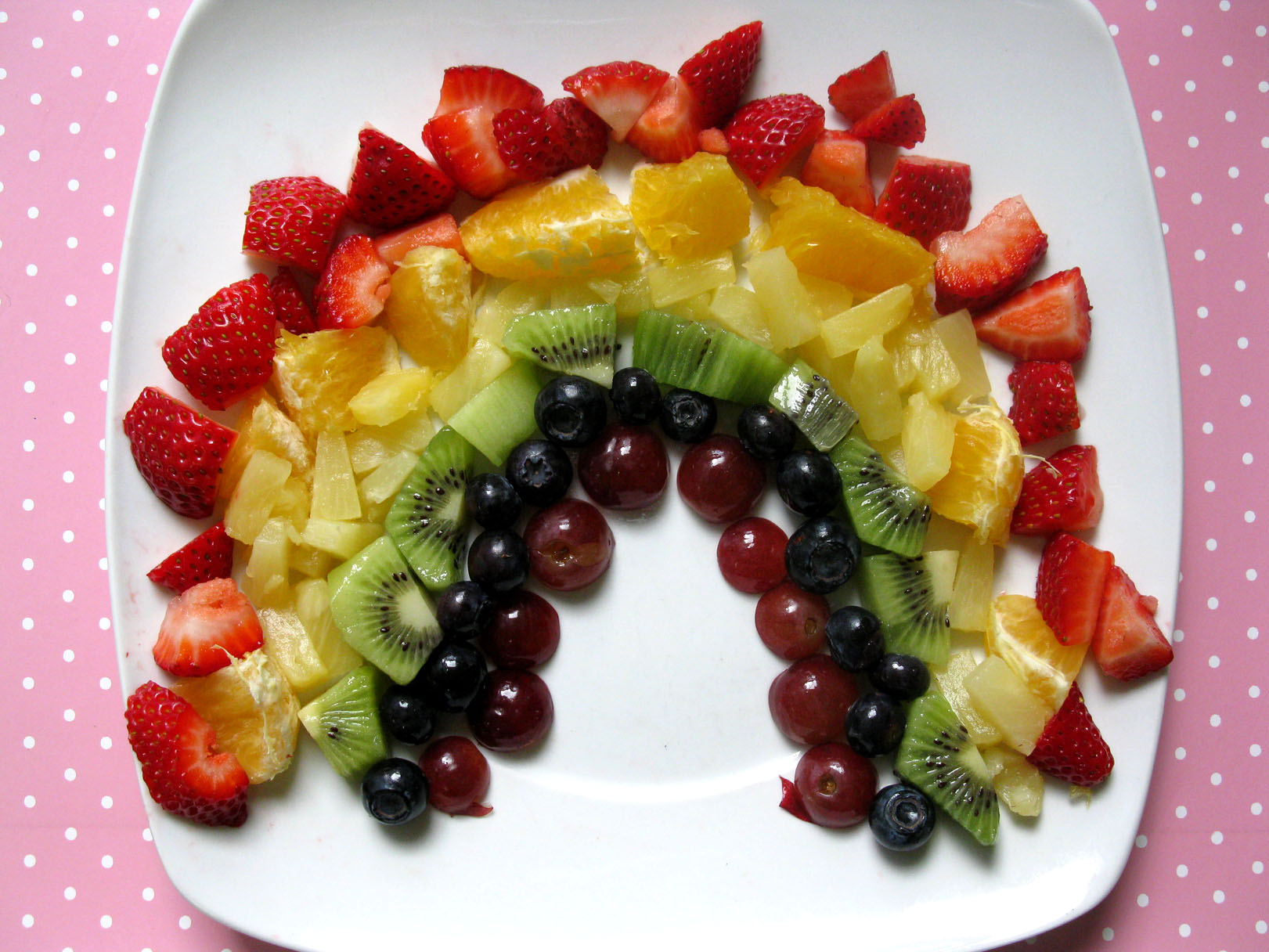 Fruit arranged by color helps young children learn the colors of the rainbow and the importance of eating a variety of colorful fruits. (Image from  livelearnloveeat.com .)