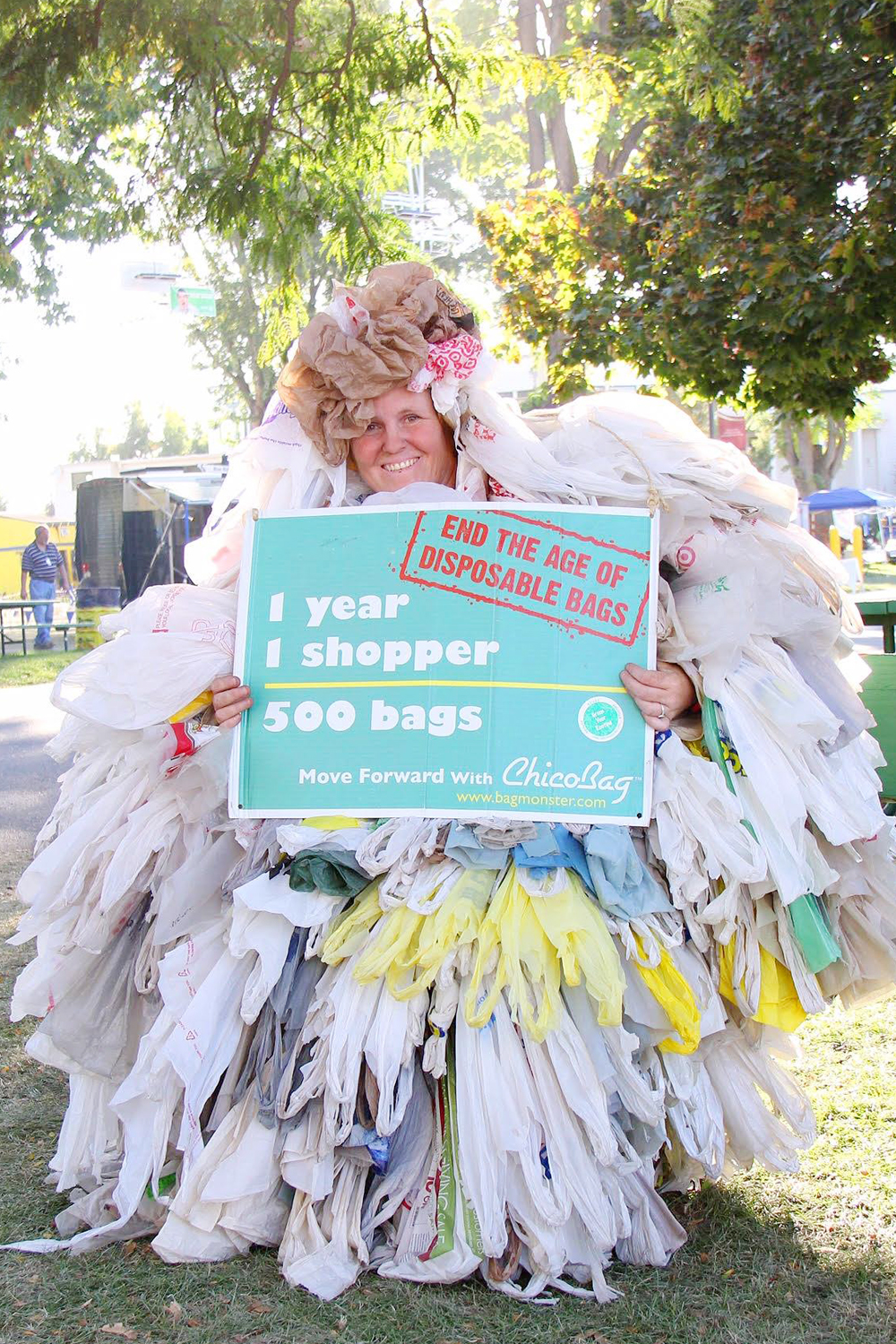 A volunteer wears a Bag Monster costume representing the 500 single-use disposable shopping bags used yearly by one person in the US. Bags that are not disposed of or recycled properly end up as litter hurting the beauty of our cities and the health of the environment.