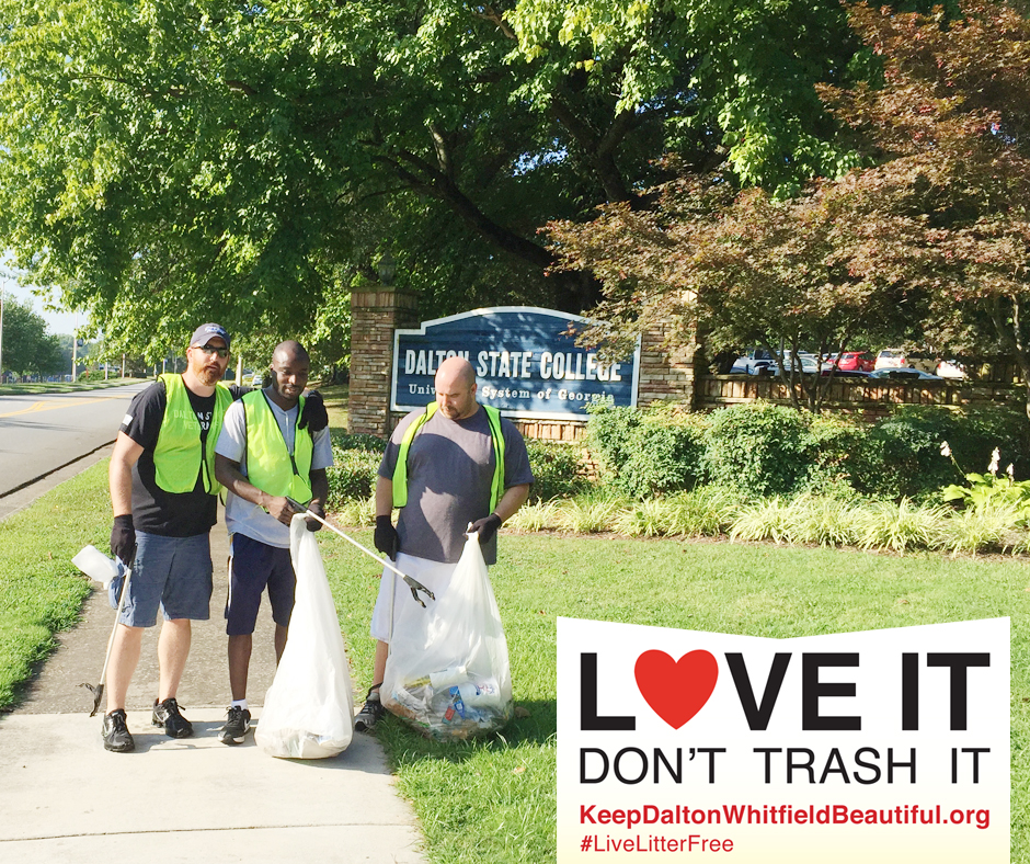 Members of the Dalton STate RSO remove litter from College Drive. Removing Litter, trash in the wrong place, helps keep the community beautiful and healthy.