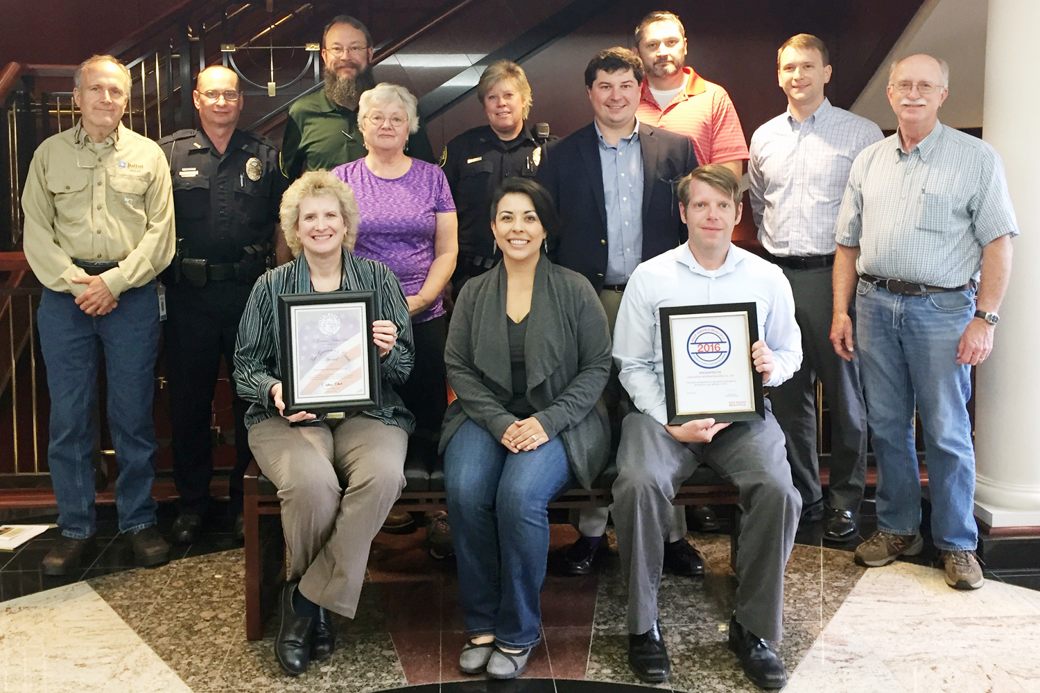 Pictured are Keep Dalton-Whitfield Beautiful board members with the awards for 2016.  Front row (left to right):  Karey Williams, Liz Swafford, Anthony Cline.  Middle row:  Patricia Edwards, Scott Delay.  Top row:  Phillip Pfeifer, Chris Cochran, Dirk Verhoeff, Jennifer Jefferies, Joe Thomas, Aaron Marcelli, Clyde Taylor.