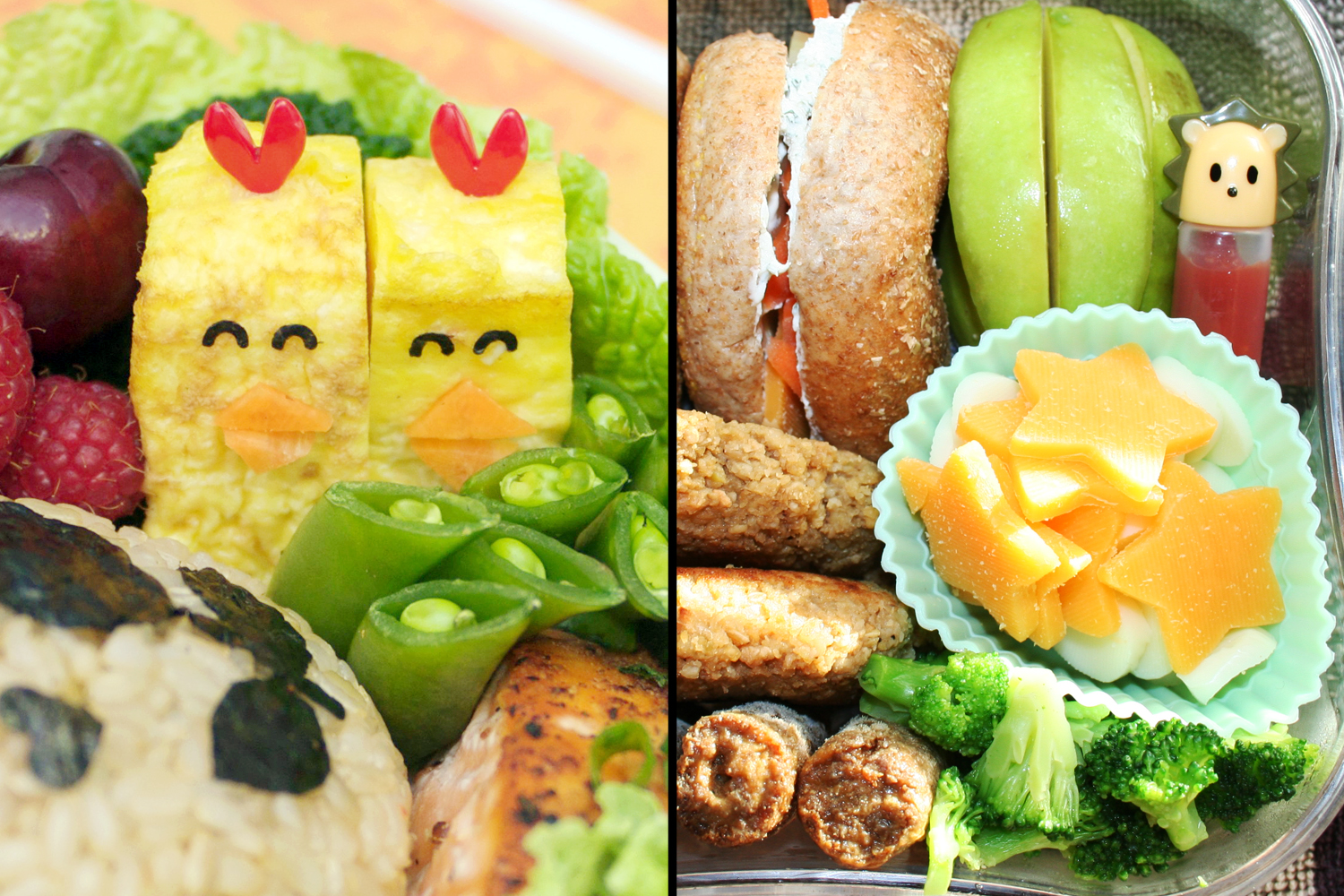 Bento box lunches with cute characters and fun shapes help make lunch extra special. And, since they're zero-waste, bentos an eco-friendly way to make school lunches. (Photos via Flickr.com)