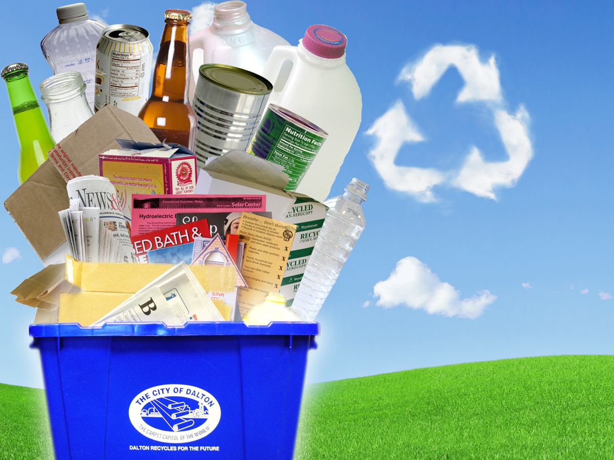 Items accepted for recycling at the curb through the City of Dalton's Curbside Recycling service include mixed paper, plastic bottles and jugs, aluminum and bi-metal cans, and glass bottles and jars.