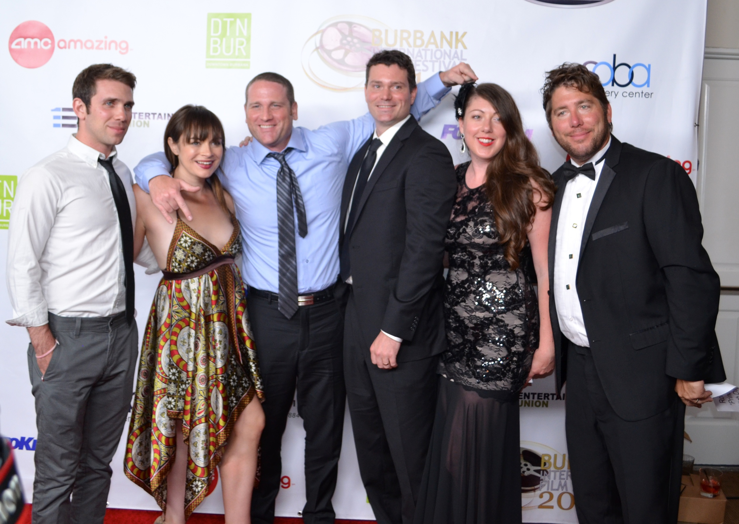 Left to right: Zach Silverman (Mike), Katy Foley (Jenny), Daniel P. Coughlin (Writer), Ryan W. Coughlin (Writer), Megan Waters (Producer) and Ronald J. Burkard (Principal Gullman)