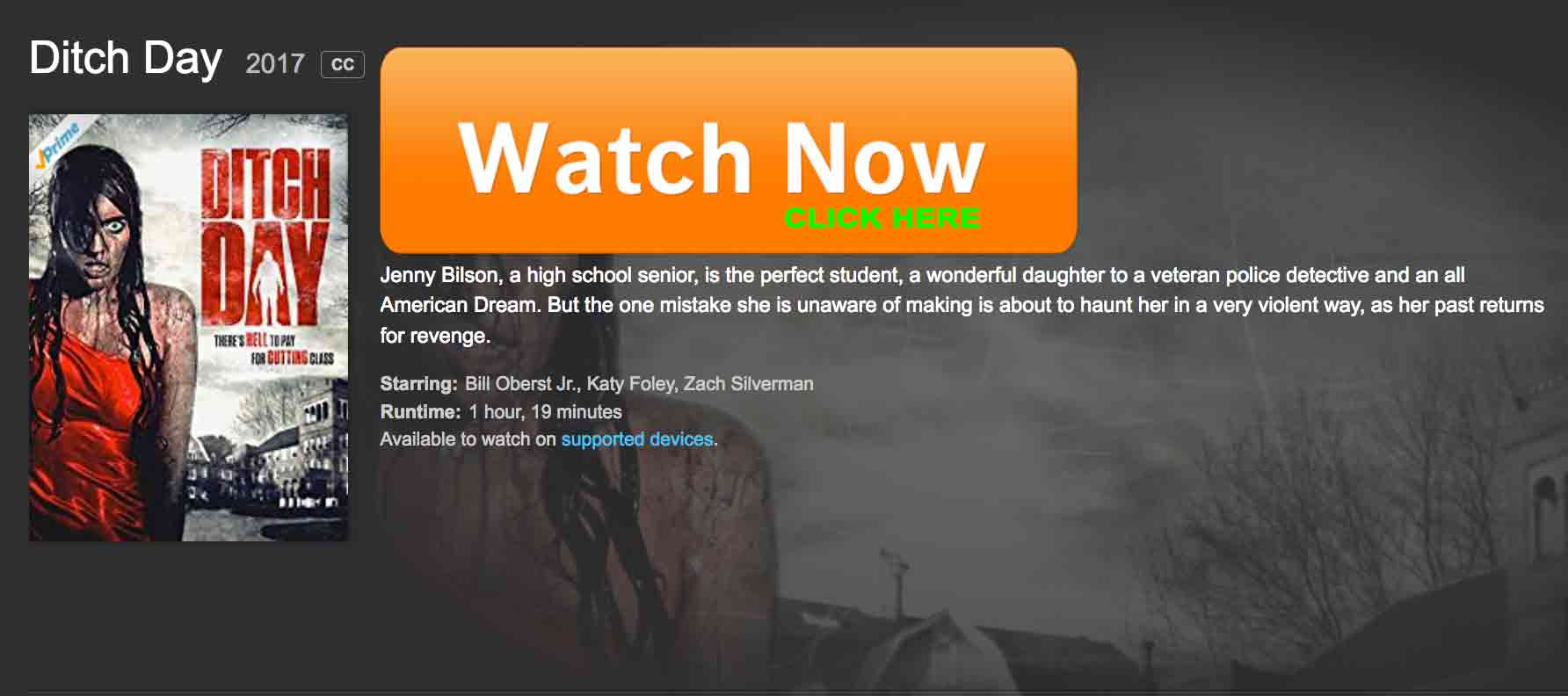 Ditch is currently available for rent and purchase at AMAZON.  Prime members may enjoy film as part of their prime membership.