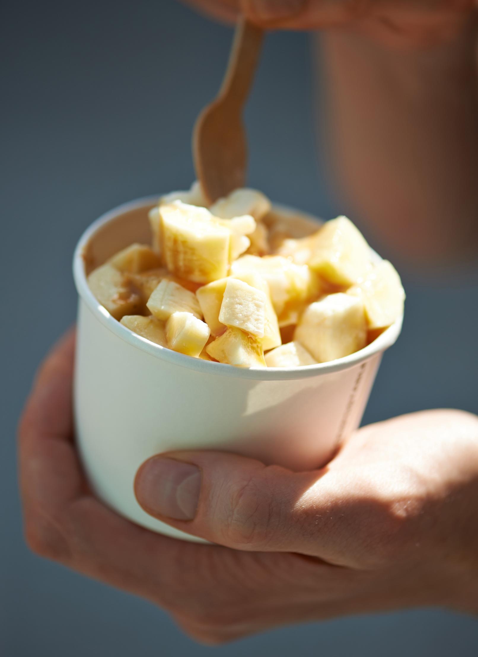 street food photography, frozen yoghurt and bananas