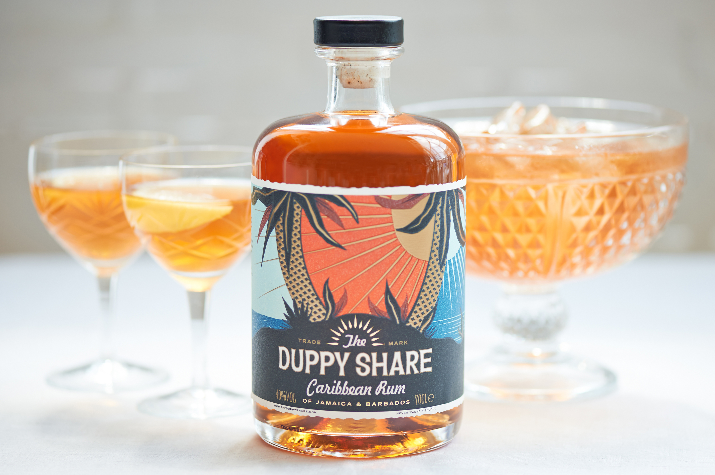 advertising imagery for Duppy Share Rum