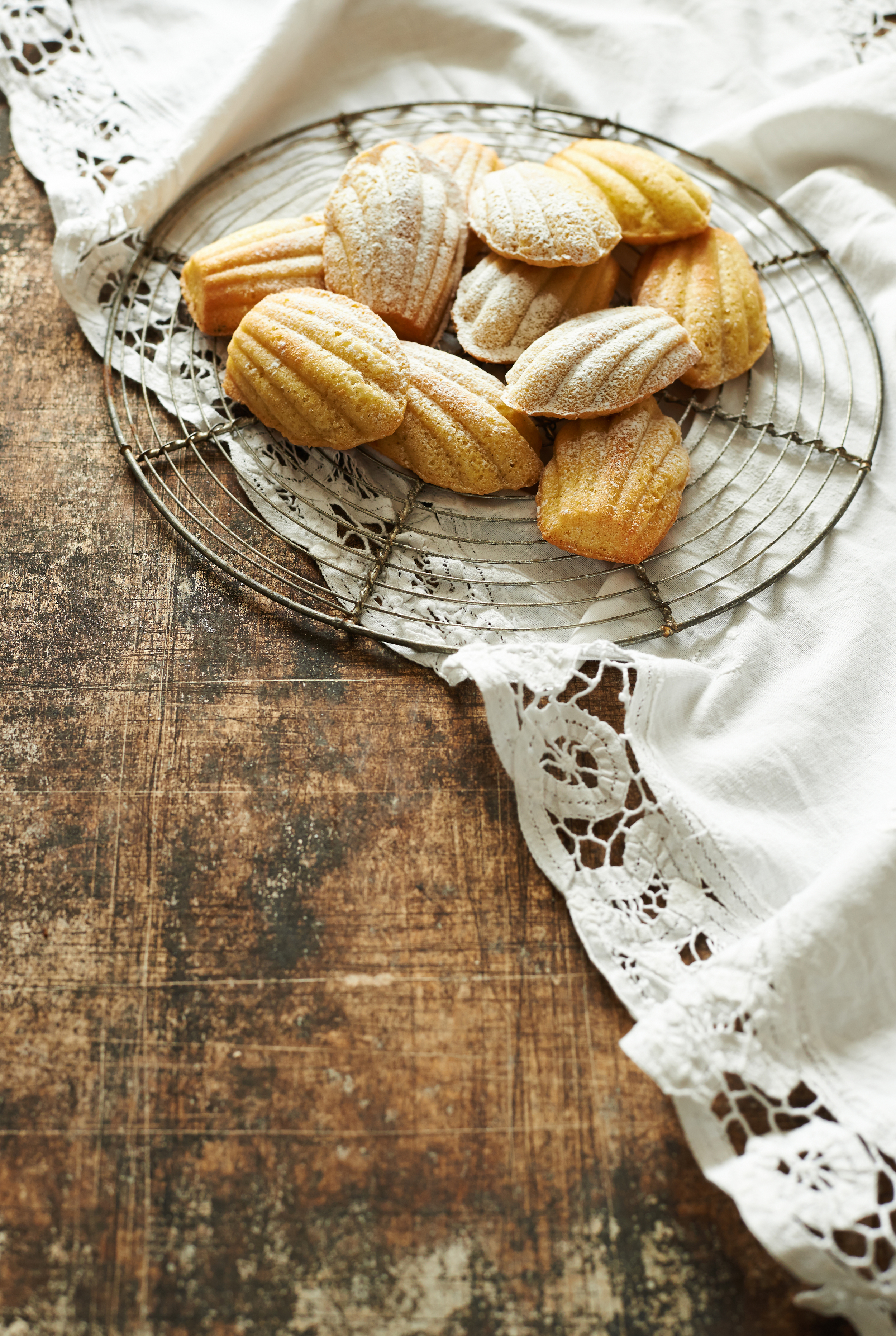 food photography, madeleines on a wire cooling rack