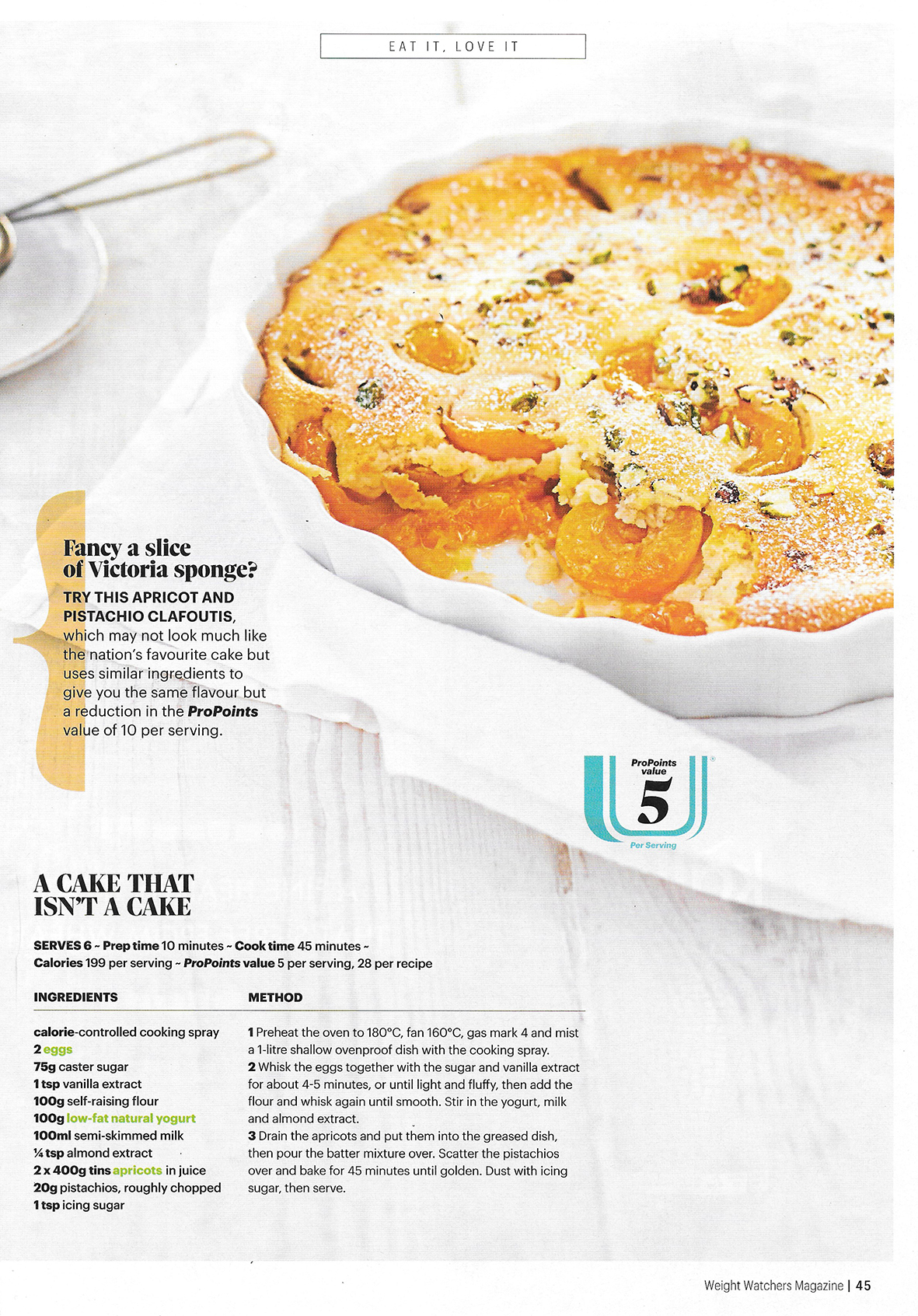 Apricot Clafoutis for Weight Watchers Magazine
