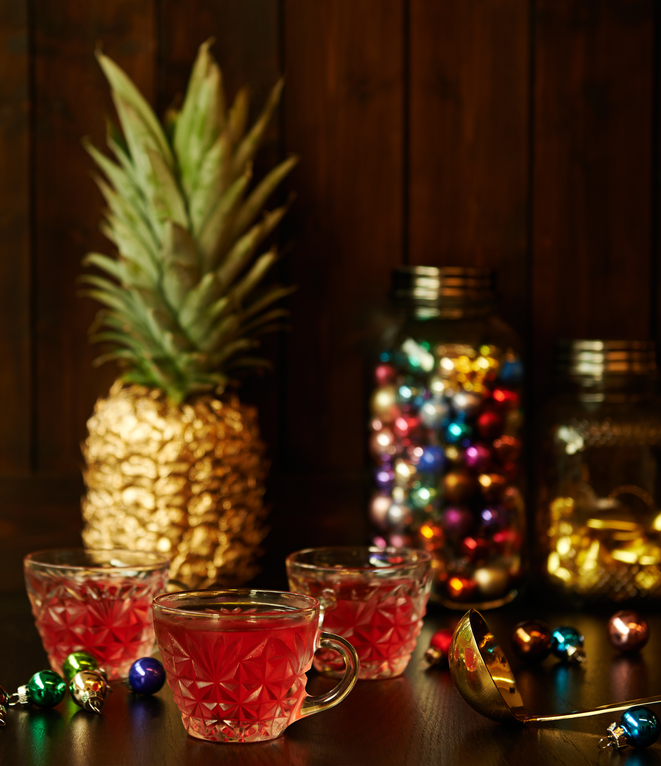 Christmas drinks photography of rum punch