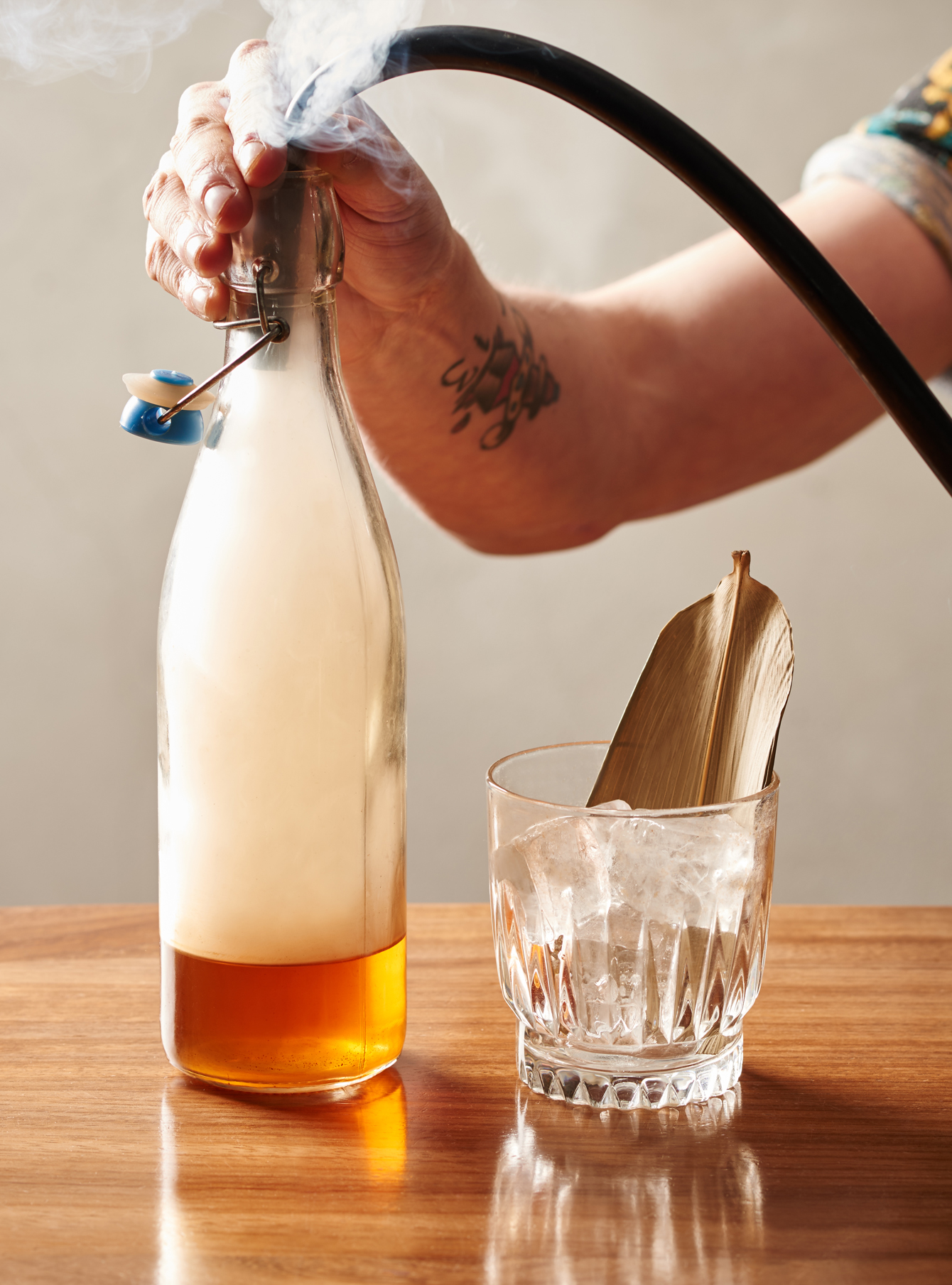 drinks photography of a smoked whiskey cocktail