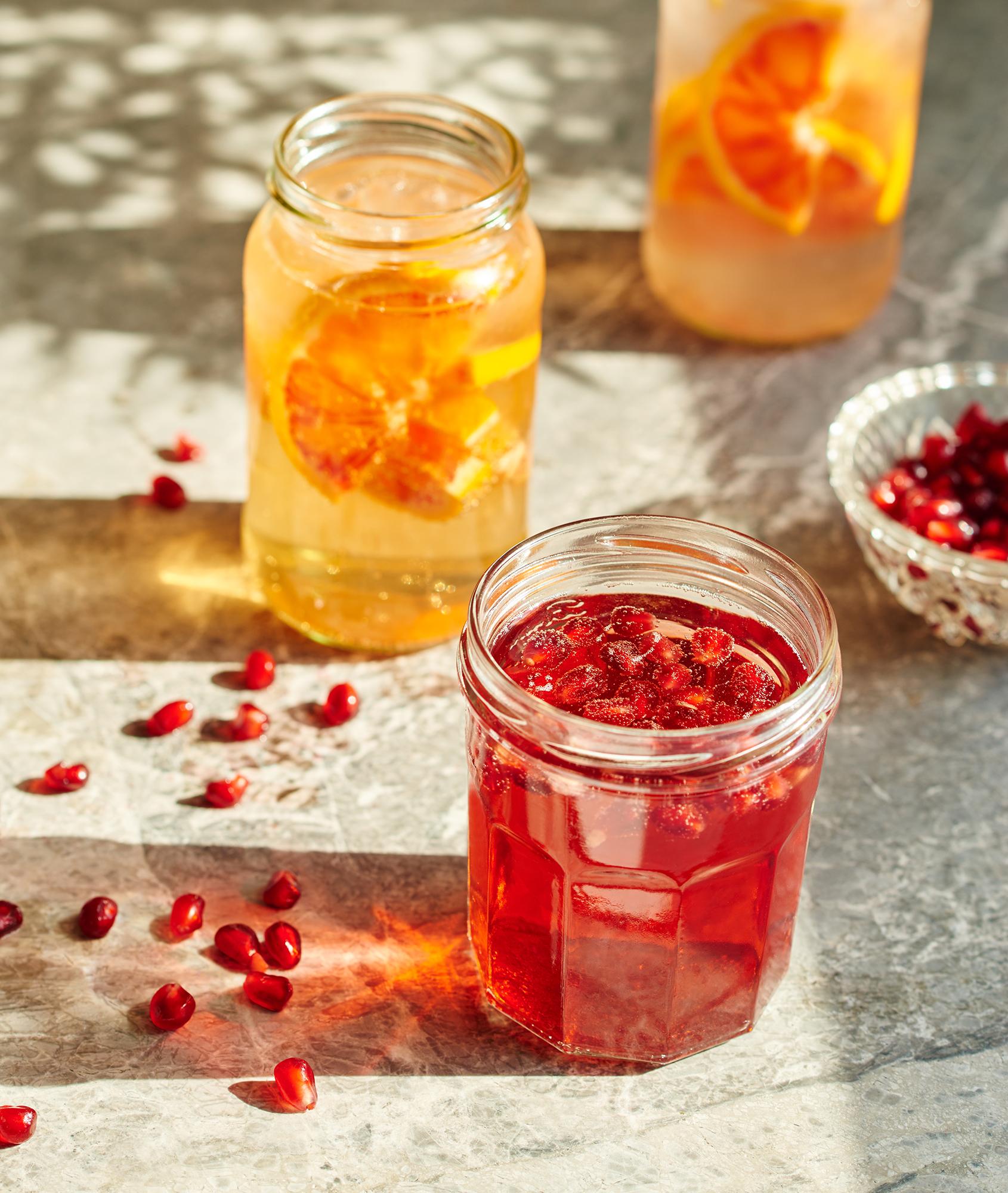 fruit cocktails served in jam jars