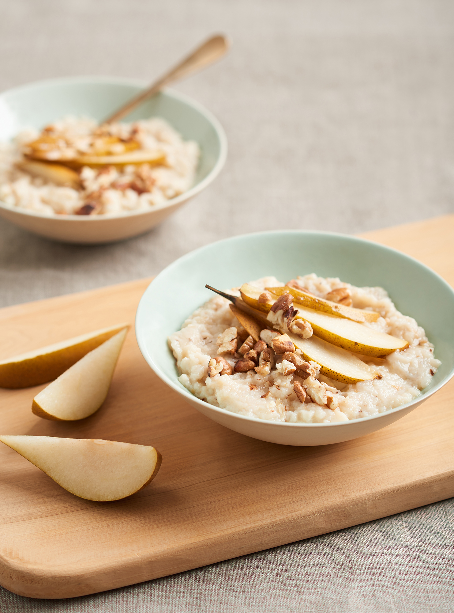 food photography of porridge and pears