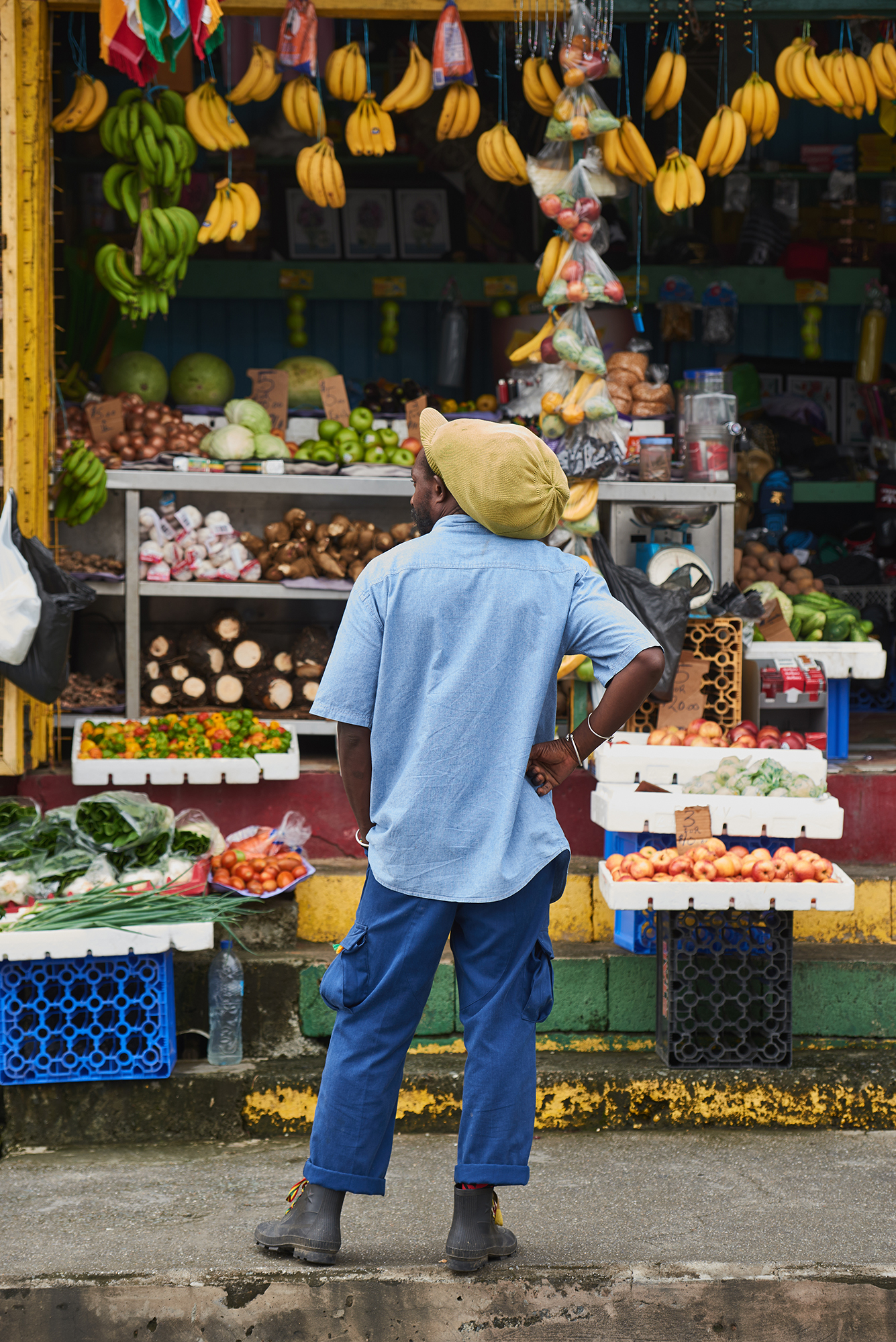 street photography of a market trader in St Lucia