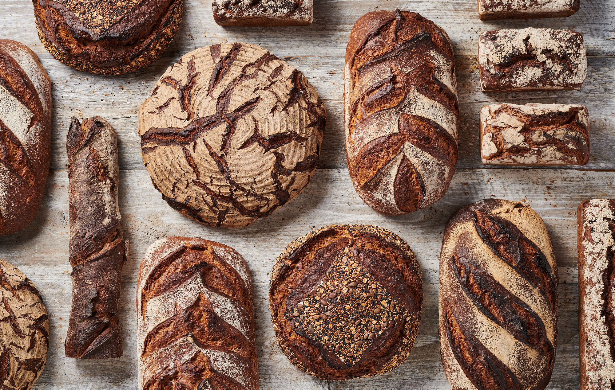 selection of artisan sourdough and rye breads