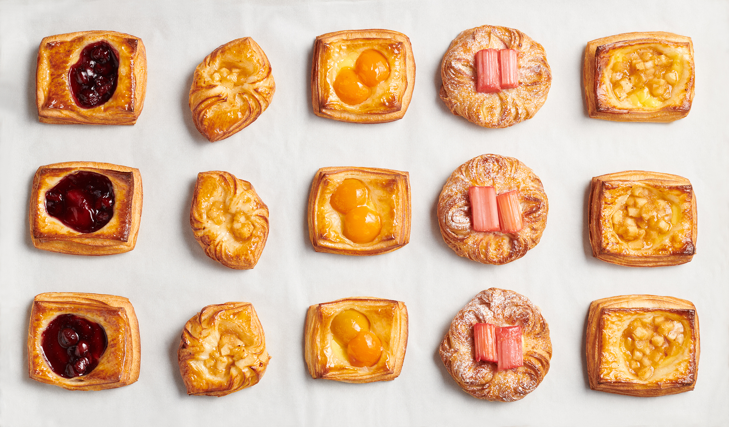 food photography of a range of patisserie